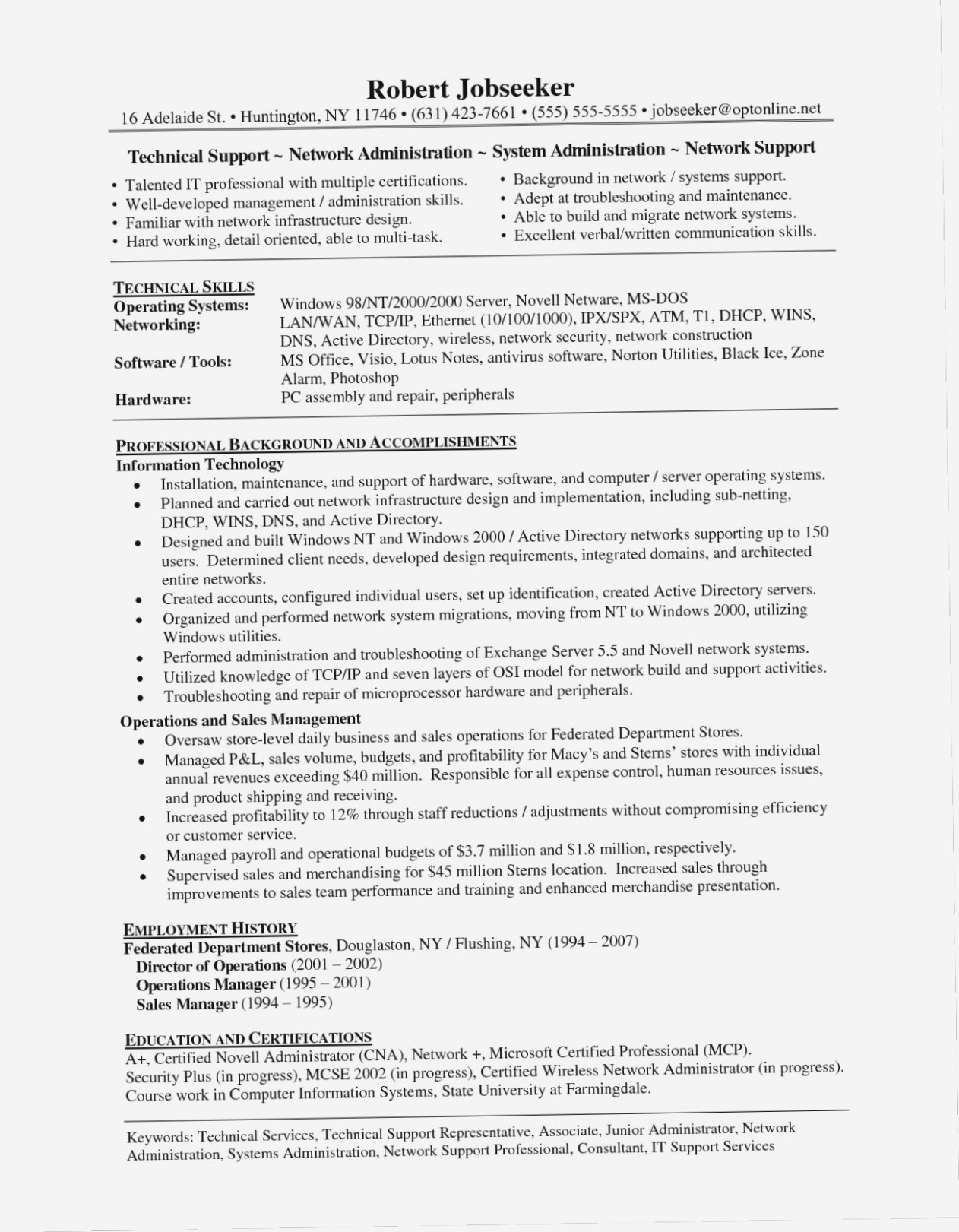 Other Collections of 50 Beautiful puter Repair Technician Resume