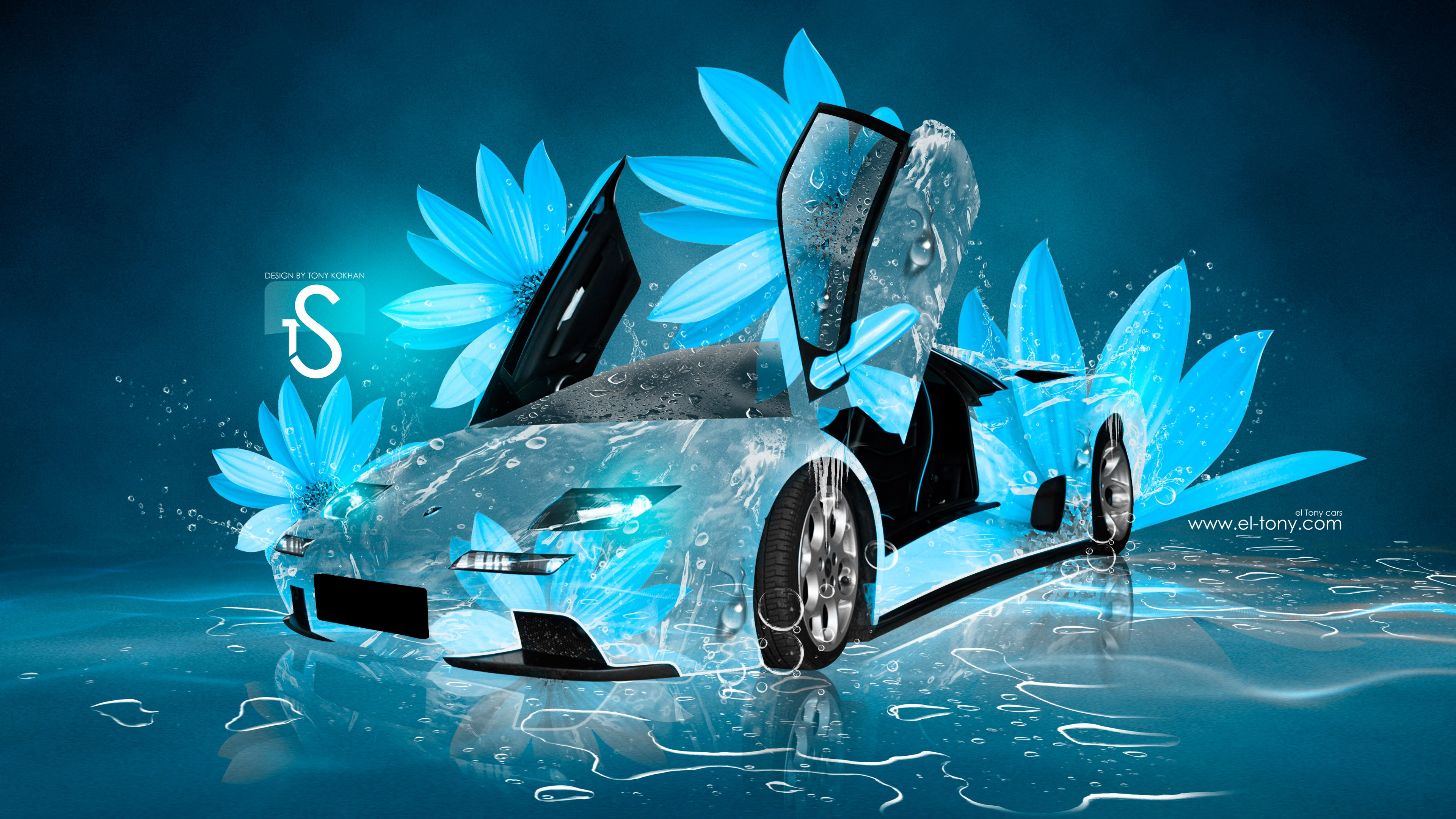 Lamborghini Diablo Open Doors Super Water Ice Neon TonyFlowers Neural Network Flowers Art Car 2019 Blue Azure White 4K Wallpapers design by Tony Kokhan v image