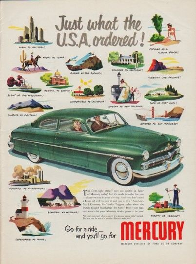"""American Mercury Insurance Awesome 1950 ford Mercury Vintage Ad """"just What the U S A ordered"""