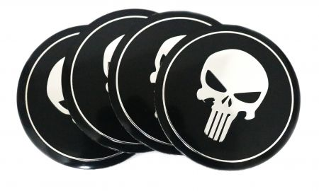 Oz Carlsson Elegant 4 Pcs Set Aluminum Punisher Skull 56mm 65mm Domed Wheel Center Cap Emblem Sticker Badges Tire Decoration